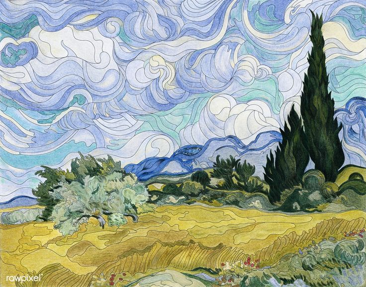 Wheat Field With Cypresses 1889 1890 By Vincent Van Gogh Adult