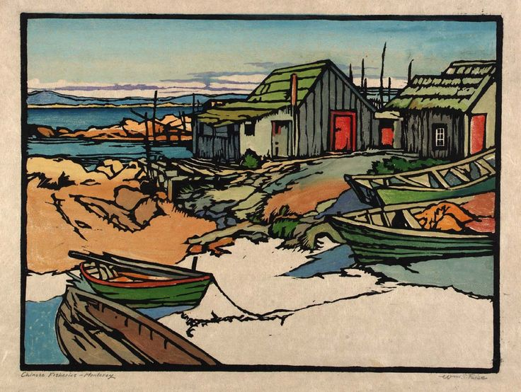 """Chinese Fisheries, Monterey"" by William S. Rice, color relief on paper, 1920"