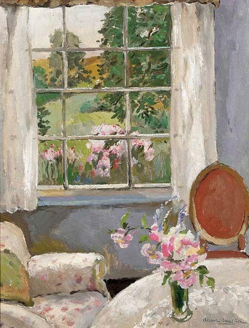 A sunny corner, Allan Walton, British, 1891–1948, oil on cabvas, 55.9 x 43.7 cm. (22 x 17.2 in.)