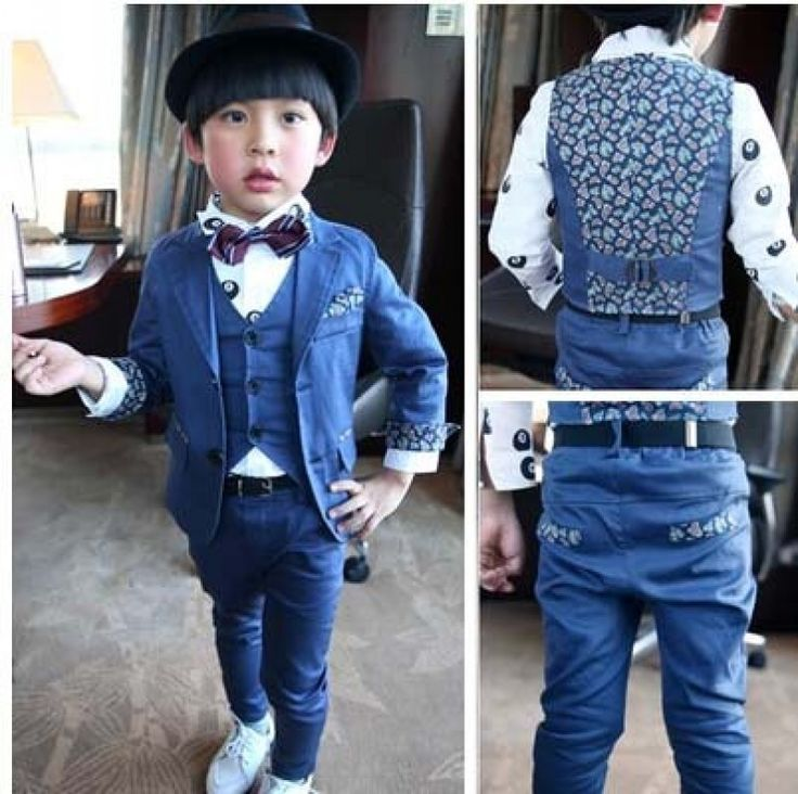 Dark Blue Children Blazer With Three Pieces Single Breast Suits - Shop fashion and lifestyle products on Sifko.com
