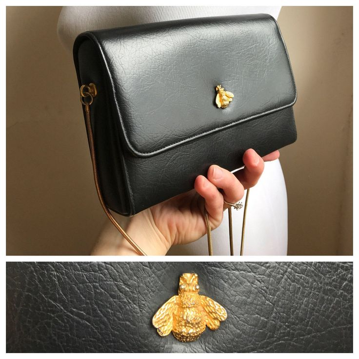 Vintage Black Clutch Gold Honey Bee Embellishment | Black Leather Evening Bag w/ Gold Chain Strap | Classy Evening Bag | Black Handbag by VintageBobbieMaude on Etsy https://www.etsy.com/listing/515488631/vintage-black-clutch-gold-honey-bee