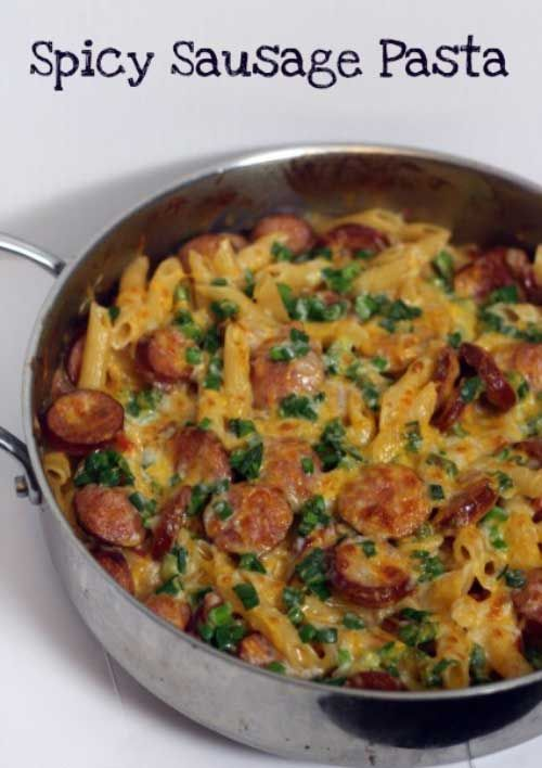 Recipe for Spicy Sausage Pasta - Need a quick and easy dinner idea? This Spicy Sausage Pasta is perfect, and the family will love it!