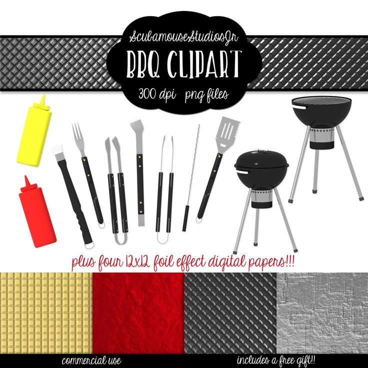 BBQ Clipart, Summer Clipart, Grilling Graphics, 300 dpi 12x12 ince Foil Effect Digital Papers by ScubamouseStudiosJr on Etsy https://www.etsy.com/uk/listing/222782844/bbq-clipart-summer-clipart-grilling