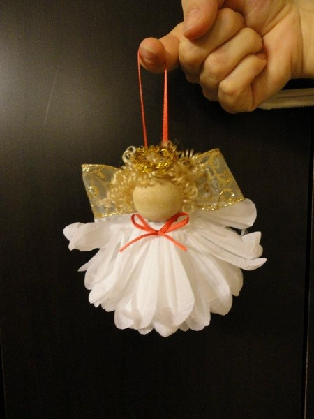 Image only-DIY: Christmas Angel Ornament    (Super glue a wooden ball on top of an upside down flower. Glue on some hair. Use gold pipe cleaner to make a Halo. Add bows, and use a ribbon to make a loop to hang the ornament.)