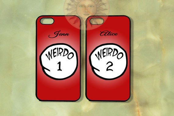 Weirdo 1 and Weido 2 Couple Best Friend Cases thing 1-iPhone 5 , 5s, 5c,4s, 4,Ipod touch 5, Samsung GS3, GS4-Rubber Hard Plastic Case, cove