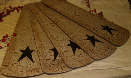 Primitive New Hunter Replacement Fan Blades Wood Tan Crackle Black Country Decor | eBay LOOOOVVVEEE!!!!