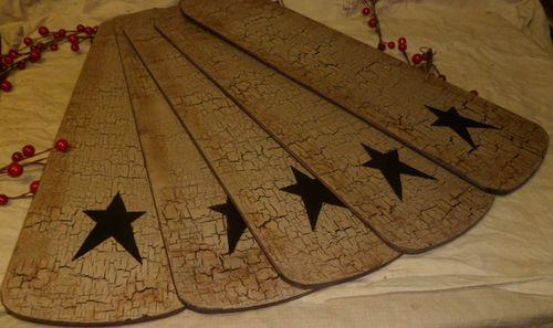 Primitive New Hunter Replacement Fan Blades Wood Tan Crackle Black Country Decor | eBay LOOOOVVVEEE!!!!