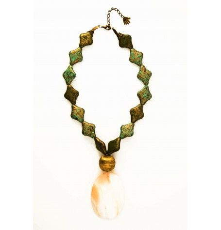 Vintage green = Earthy glamour in this stained metallic, copper and seashell beaty. $21