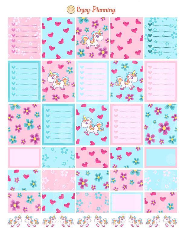 Unicorns Printable Planner Stickers Checklist Unicorns planner Stickers Weekly…                                                                                                                                                                                 More
