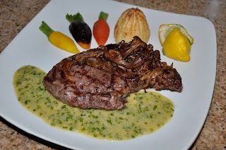 Shawna's Food and Recipe Blog: American Bison Rib Steak with Bluefoot Mushroom Caramelized Onions and Garlic Chive Vinaegrette