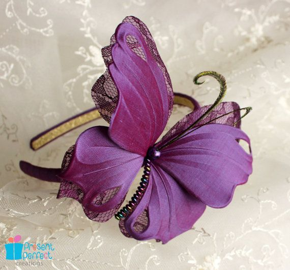 Butterfly fascinator purple wedding