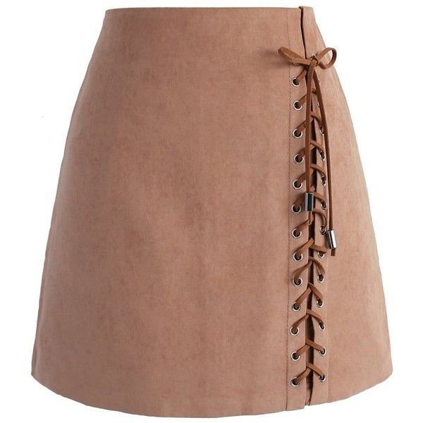Chicwish Lace-up Tribe Bud Skirt in Brown ($42) ❤ liked on Polyvore featuring skirts, brown, lace skirt, beige skirt, tribal skirt, embellished skirt and brown lace skirt