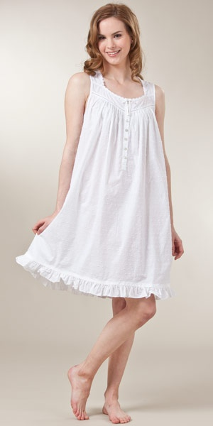Sleeveless Swiss Dot Woven Cotton Short White Nightgown by Eileen West