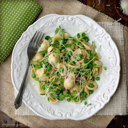 Orecchiette with Spring Peas, Pancetta and Pea Shoots