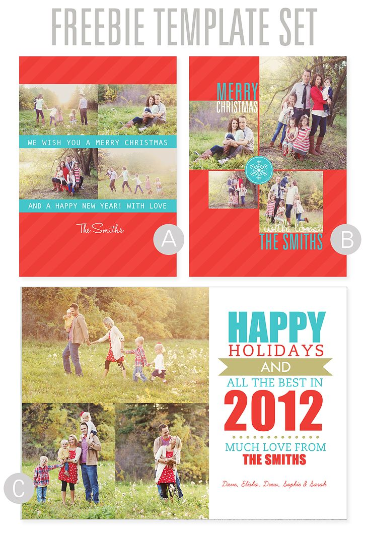 FREE Christmas Card Templates via www.simpleasthatblog.com. #christmascards