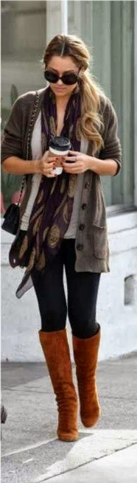 Grey jacket, scarf, white sweater, black leggings and brown longs boots for fall