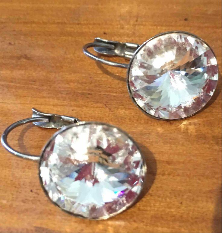 Swarovski Crystal Earrings, Crystal Clear, 14mm, 1 pair