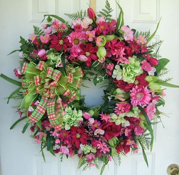 Spring Wreaths for Front Door | Beautiful bright Spring wreath lime & pink Front ... | Wreaths...Plus