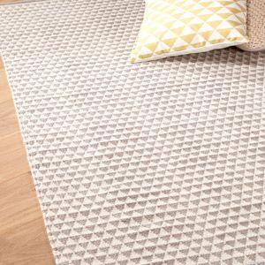 Tapis en coton tissé main motif triangles Bomull - Gris : Decoclico 200