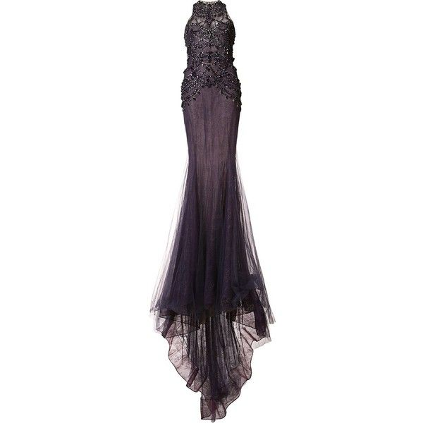 Marchesa Embellished Fitted Gown ($11,784) ❤ liked on Polyvore featuring dresses, gowns, long evening dresses, sleeveless wrap dress, sheer dress, long fitted dresses and long sheer dress