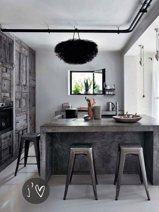 Loft concrete kitchen island and tolix bar stools.  #bekmode