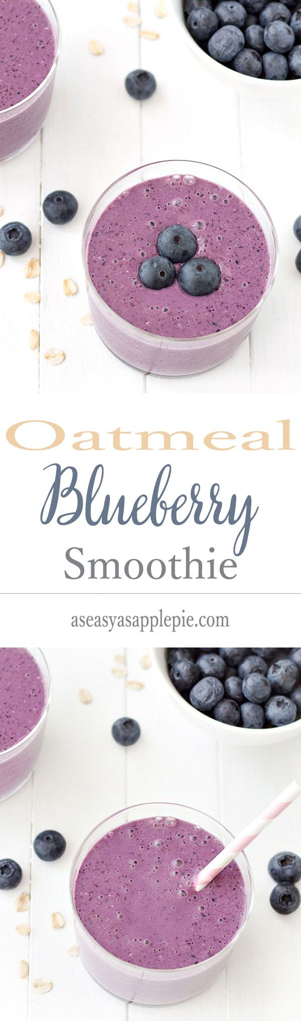 Oatmeal Blueberry Smoothie: filling, satisfying, healthy and totally delicious! Perfect for breakfast or as a snack