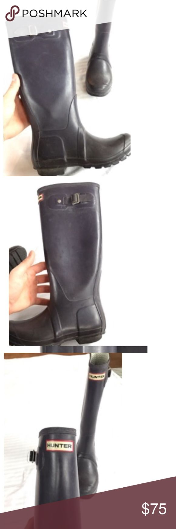 Purple Navy HUNTER BOOTS Size 6F knee high Selling these HUNTER BOOTS for $75 because they were originally $150 so you're getting a great deal by only having to pay half price :) Hunter Boots Shoes Winter & Rain Boots