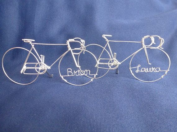 Great gift for bike lovers!    Racing bike is made with one piece of non-tarnish aluminum wire. 5 x 3 inches. Stand up with kick stands. Please