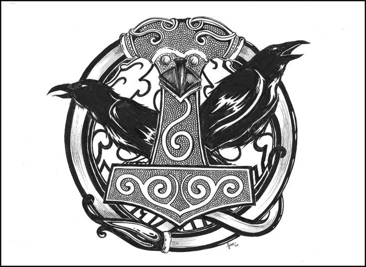 Norse Raven Design Mjolnir por ~ Yokome o...