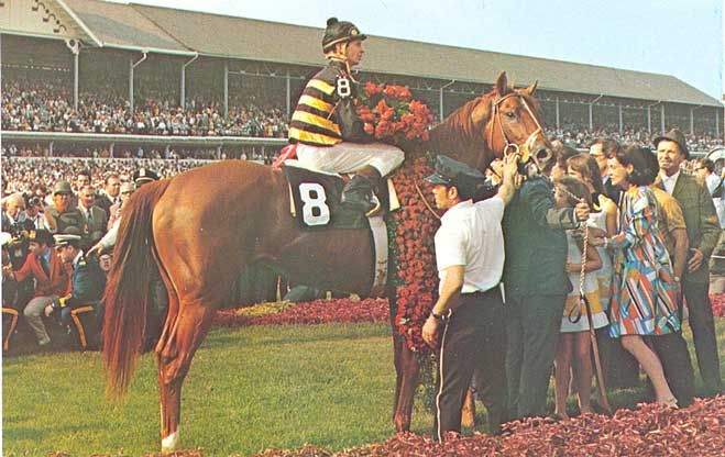 Majestic Prince(1966)(Colt) Raise A Native- Gay Hostess By Royal Charger. 5(F)x5(F) To Gainsborough & Blenheim II. 10 Starts 9 Wins 1 Second. $414,200. Won Ky Derby, Preakness S, Santa Anita Derby, San Jacinto H, San Vicente S, Los Feliz S, 2nd Belmont S. Sold For $250,000 As A Yearling, A Record At That Time. Died In 1981.
