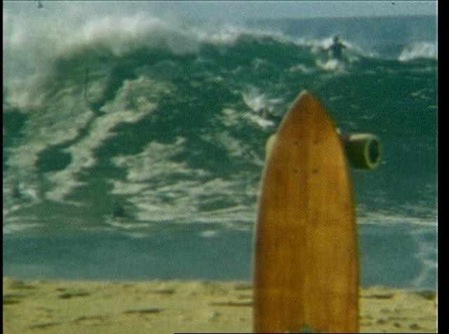 Surfing The Wedge, Newport Beach, CA.  Filmed in retro style.  At least an 85% drop in and eat sand ratio.