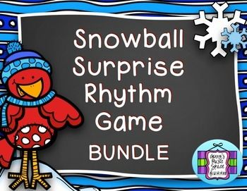 Snowball Surprise Rhythm Bundle is a bundle of all of my Snowball Surprise Rhythm Games. New games with different rhythm combinations will be added.  Play the game in teams of two or more for lots of classroom fun!  The surprise is in the scores awarded for each correct answer!