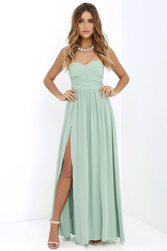 Moonlight Serenade Sage Green Strapless Maxi Dress