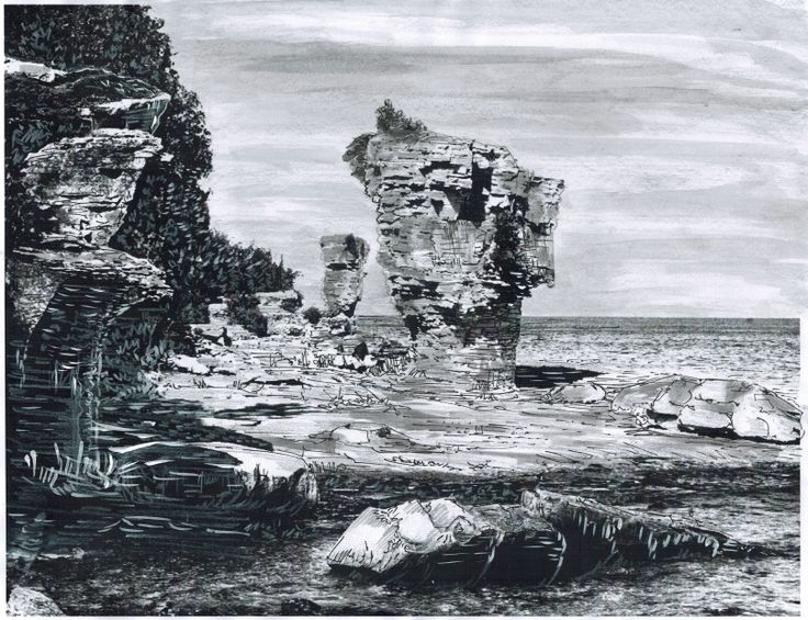 Drawing of Flower Pot Island, Tobermory