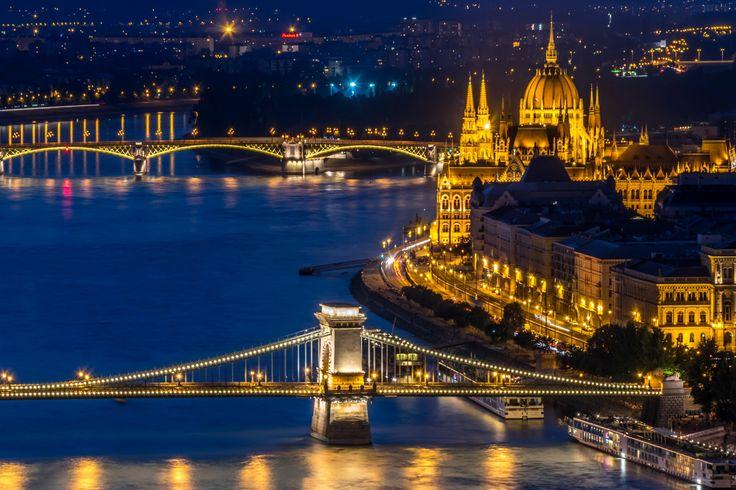 Hungary Houses Rivers Bridges Budapest Night Cities