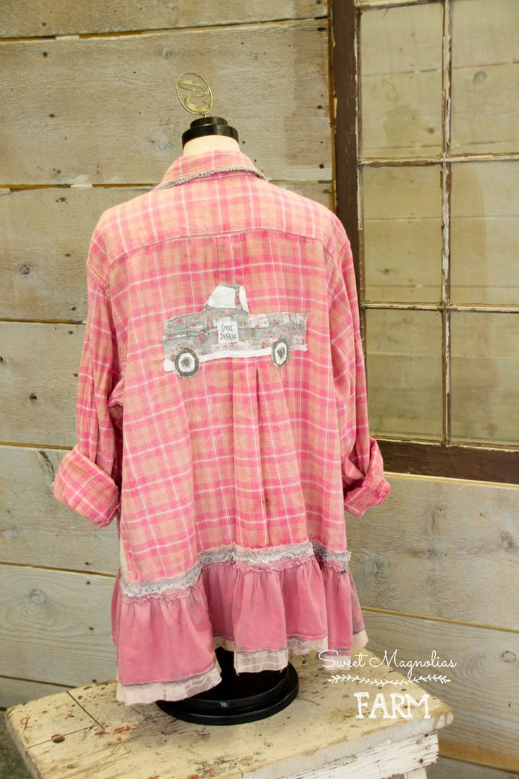 "Farm Girl Fancies Upcycled Flannel Shirt Tunic Jacket ~ Shabby Chic BOHO OOAK Clothing ~ Vintage ""Gone Junkin' "" Truck  Pink and Grey ~ Just listed in our Etsy Shop ..."