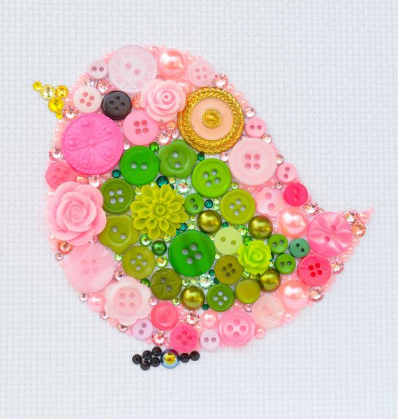 Pink Bird Button Art Vintage Buttons by PaintedWithButtons, $40.00
