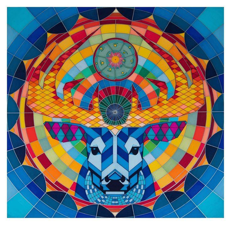 """""""TAMATSI MAXAYUAWI""""  (Nuestro Hermano Mayor el Venado Azul)       FUNCIÓN:  Este mandala fue diseñado con la finalidad de inducir estados meditativos que permitan al individuo recordar su verdadera esencia .    SÍMBOLOS:   Venado Azul, Hikuri, Abuelo Fuego, Padre Sol, Deidad del Aire.  INTERPRETACIÓN TERAPÉUTICA DETALLADA.   Solicitar por correo electrónico a sacredarttherapy@gmail.com"""