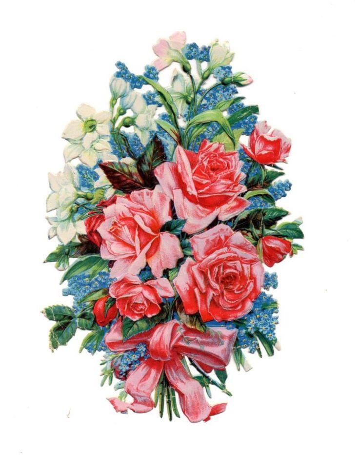 Alte Glanzbilder Oblaten Scraps großer Blumenstrauß Schleife rosa 15cm ...