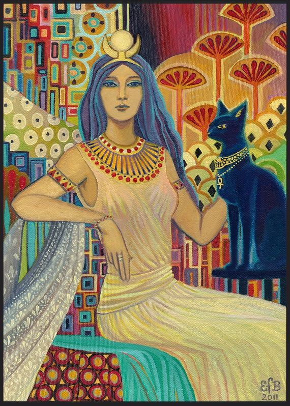 Bast Egyptian Cat Goddess Art ACEO Mini Print by EmilyBalivet