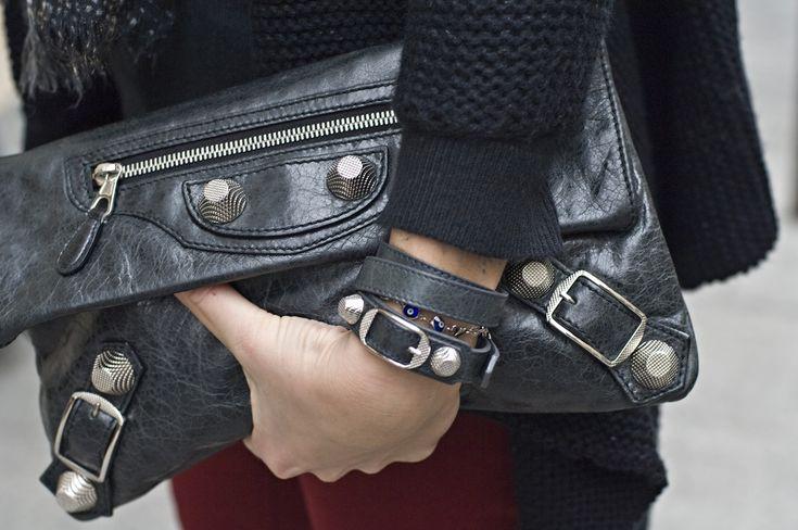 #Balenciaga Streetstyle: Giant Clutch & Double Leather Wrap-Around Bracelet