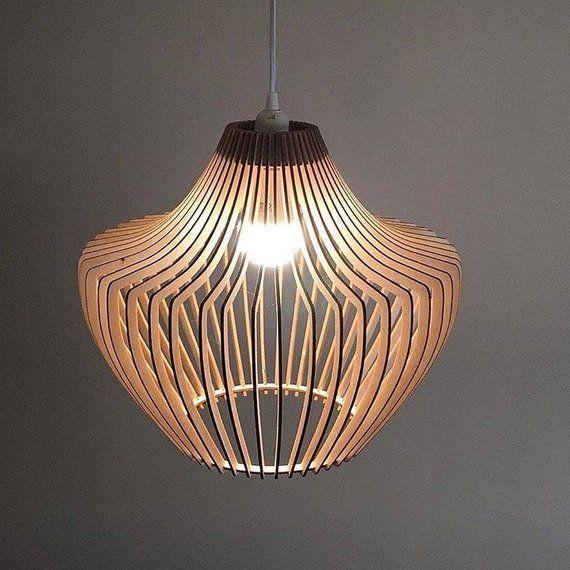 Holzlampe Holzlampenschirm Hangelampe Pendelleuchte Etsy