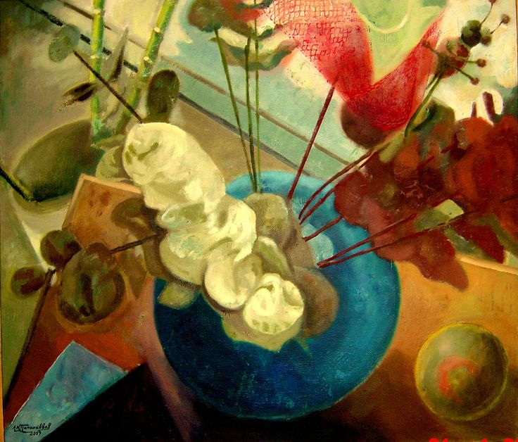 still life  from an  interesting  perspective-  oil  on  canvas ---a  painting  by  Leonidas  Papasavvas