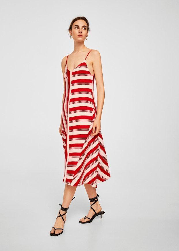 41331fc6 Vestido algodón rayas - Mujer | MANGO | Vestidos combinados ...