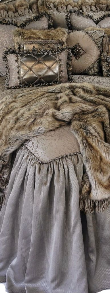 The Versailles' Soft Gray and Tan Damask is combined with Metallic Linen, Smokey Pin Striped Organza, Gray Velvet and a Faux Croc Leather for a look that is Subtle and Romantic. The Versailles Collection is rich with Details! Shown here with a princess skirt.