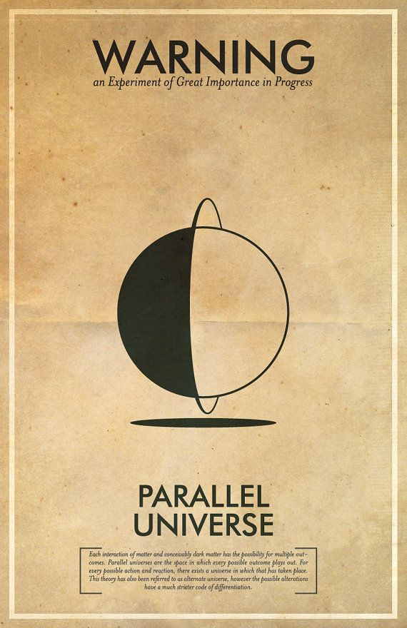 Parallel Universe Warning Poster // Fringe Science Illustration Poster // Vintage Science Fiction Wall Art