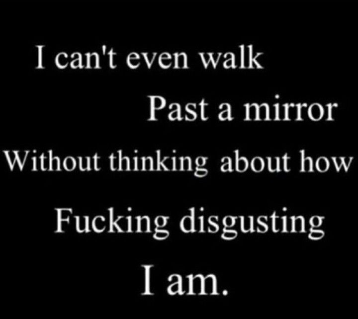 EVERY GODDAMN DAY!!!!! Just once I'd like to walk by a mirror and not be soooo disgusted and full of self hate