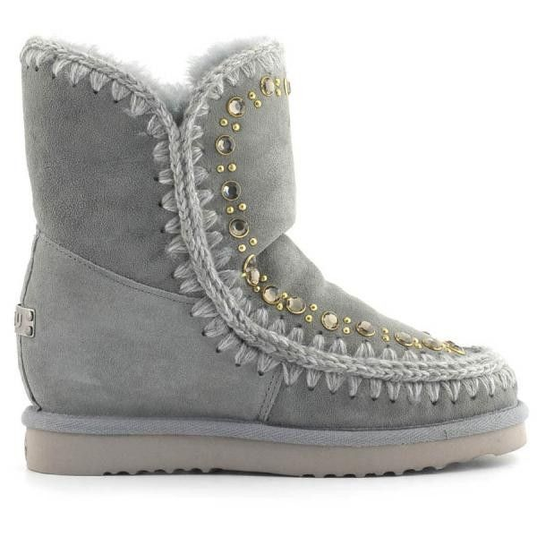 Mou Eskimo Inner Wedge With Studs & Crystals Short Boots Sage - MOU