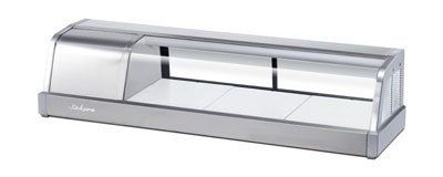 """Turbo Air SAKURA-50 R 47.2-in Sushi Case, 3-Bottom Shelves & Right Compressor, Stainless, Each by Turbo Air. $1839.02. Turbo Air SAKURA-50 R 47.2-in Sushi Case, 3-Bottom Shelves & Right Compressor, Stainless. Sushi Sushi Case, 47.2"""" long, self-contained, top glass angles down, ambient temperature range 50-80F, saturation 39F, right compressor, (3) bottom shelves, 1"""" drains, 1/6 hp, R-134a, ETL, 115v/60/1, 2.5 amps, NEMA5-15P, standard, Stainless Finish, Compressor pictured o..."""