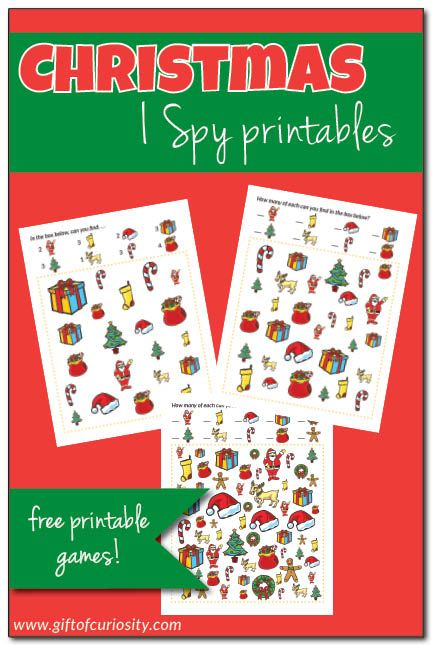 FREE printable Christmas I Spy games that support visual discrimination and counting skills. These are great for learning and fun during the month of December. || Gift of Curiosity